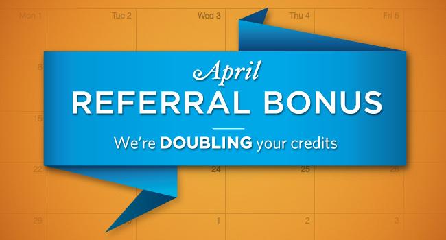 April Zenfolio Referral Bonus, Double Referral Credits